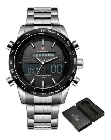 Reloj Naviforce Deportivo Original Nf 9024 Plata Negro