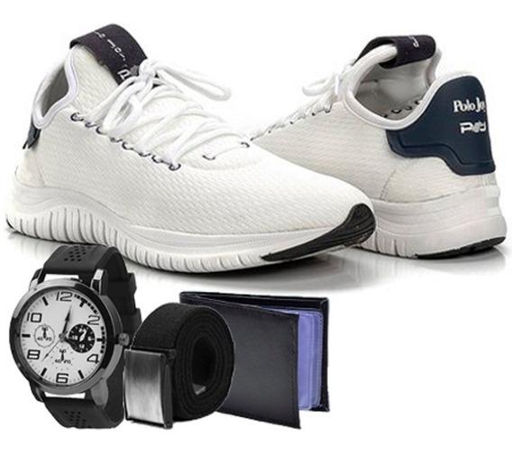 Tenis Masculino Polo Joy Sport Relógio, Carteira + Cinto