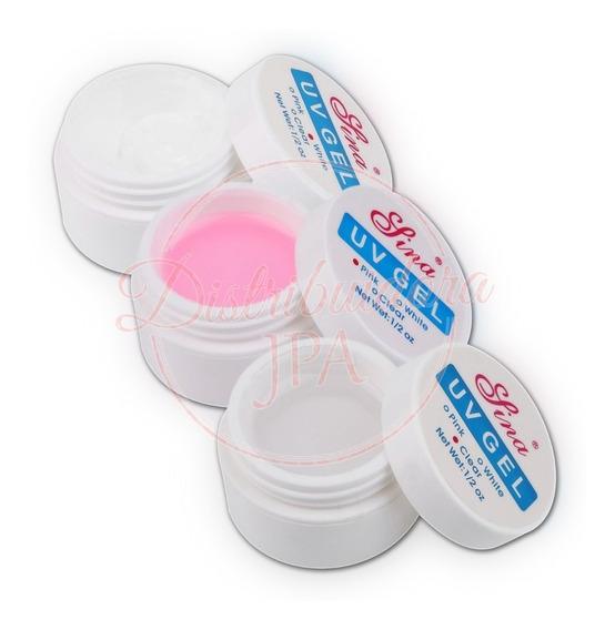 Gel Uv Led Lina X3 Rosa Blanco Transparente Construccion Uñas Esculpidas Gelificadas