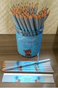 2 Porta Lápis Com 120 Lápis Personalizados Lembrancinha