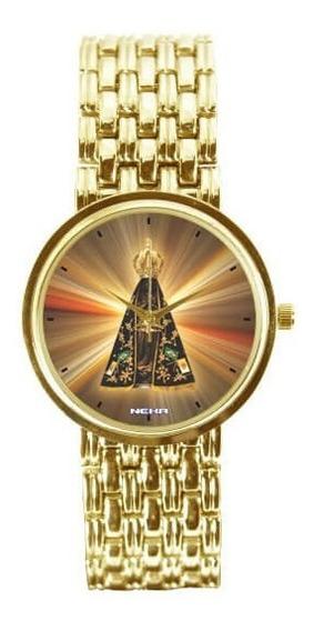 Relógio Feminino Dourado Nossa Senhora Aparecidapôrdosol3330