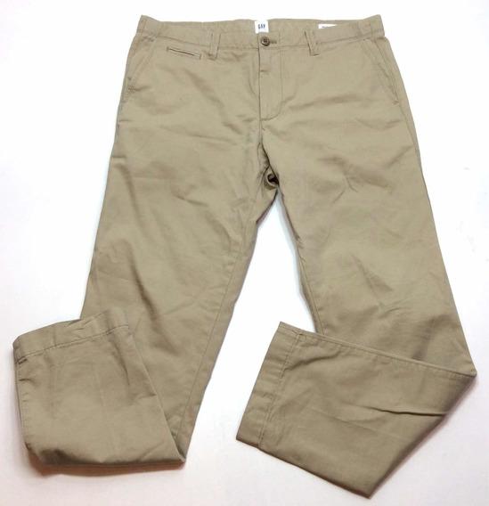 Pantalon De Gabardina Gap Slim Hombre Usa 33