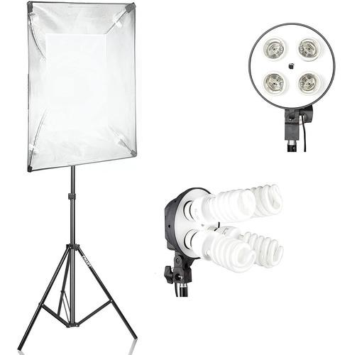 Softbox 4 Lámparas 50x70cm  Luz Continua + Trípode 2mts