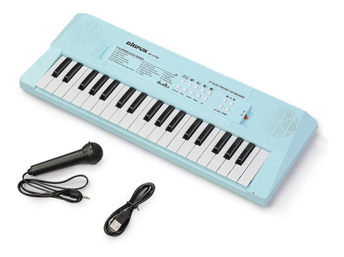 Imagem 1 de 3 de Teclado Infantil Standard 37 Teclas Usb Azul C/ Microfone
