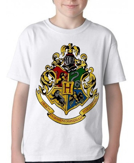 Camiseta Blusa Infantil Hogwarts Símbolo Harry Potter Color