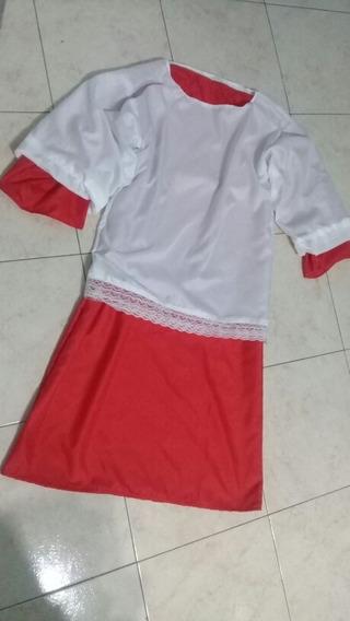 Tunica Rojo Con Blusa Puntilla