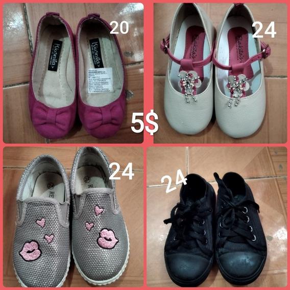 Zapatos De Niña Usados Gris, Negros, Fucsia, Beige