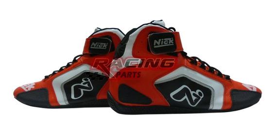 Botas De Competición Automovilismo Nick Speed-k Fluor Rojas