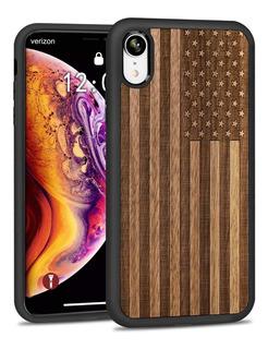 Case Protetor P/ iPhone Xr - Estados Unidos Madeira - Jubeco