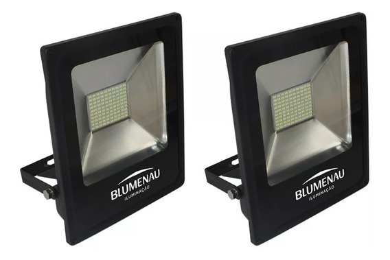 Kit 2 Refletor Led Slim 30w Ip65 Branco Frio 6000k