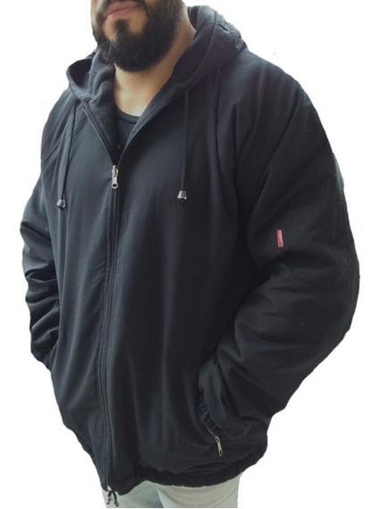 Campera Hombre Impermeable Reversible Abrigo Polar Y Capucha