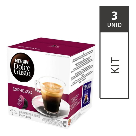 Kit 3 Cxs Cápsulas Dolce Gusto Espresso - 16 Unid Cada