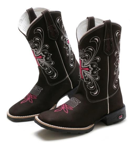 Bota Texana Country Feminina Cano Longo Bico Quadrado Couro Legitimo Confortavel Frete Gratis.