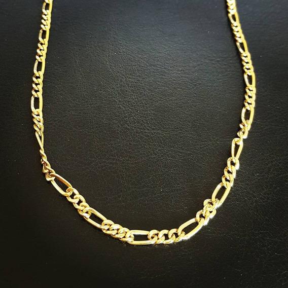 Corrente Masculina Ouro 18k - Cordão Modelo Fígaro Grosso 60