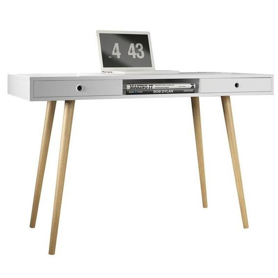 Mesa Para Computador Escrivaninha Valentinna 2 Gavetas Branc