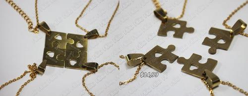 Imagen 1 de 5 de Collar De Amigos Varios Rompecabezas Dorado (tienda Friki)