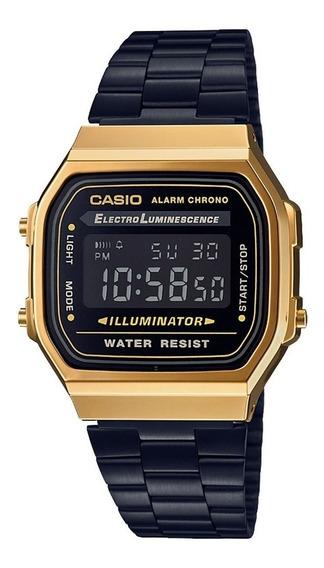 Relógio Casio Vintage Preto Dourado A168wegb-1b Retrô C/ Nf
