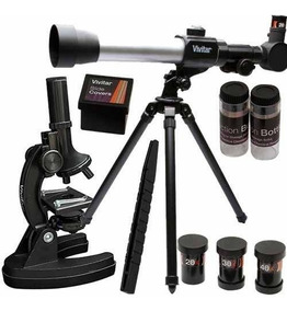 Kit Telescópio Microscópio Vivitar 120x + Tripé Vivtelmic20