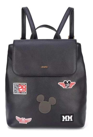Bolsa Mochila Feminina Patches Mickey - Original Disney