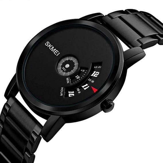 Relógio Masculino Pequeno Aço Inox Futurista Pulso Fino