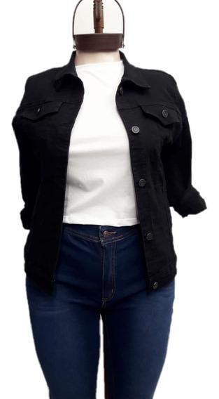 Campera Mujer Jean Negra Talles Grandes Especiales