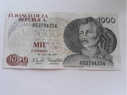 Imagen 1 de 2 de Billete De 1000 Pesos Colombiano