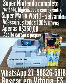 Super Nintendo Completo + Mario E Garantia.