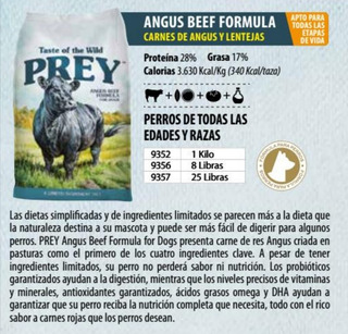 Taste Of The Wild Prey Angus 8 Libras - kg a $27500