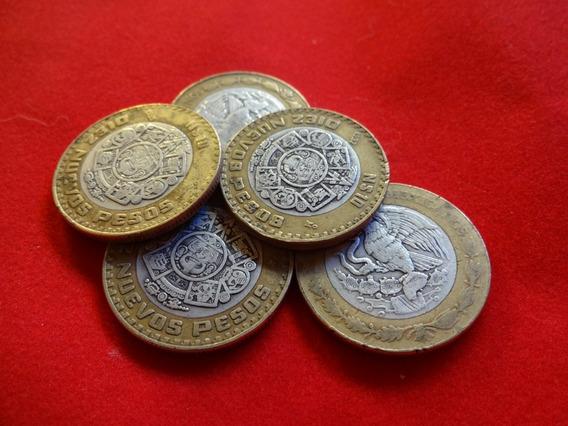 Monedas De 10 Nuevos Pesos, Centro De Plata