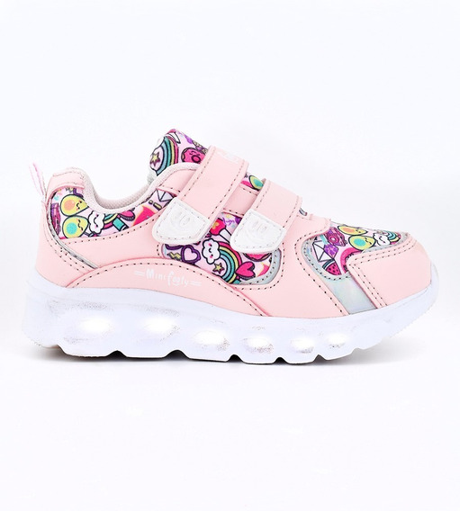 Zapatillas Footy Hologram Graffity Rosa Con Led Fty Calzados