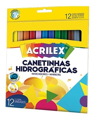 Canetinha Colorida Hidrográfica Lavável 12 Cores Acrilex