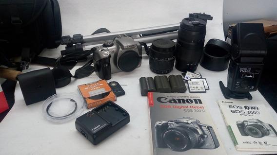 Câmera Canon Eos 300d Tele Objetiva Flash Tripe Lente Macro