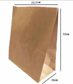 Saco De Papel Kraft 23,5x16x32cm , Delivery Com 500 Unidades