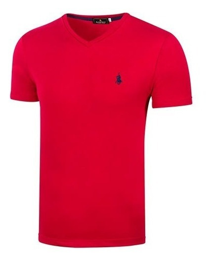 Playera Casual Caballero Polo Club 8611 Rojo Sin Cuello T3