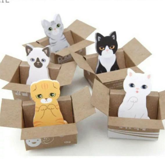 Kit 5 Bloco Adesivo Post Colorido Cat 3d Kawaii Fofos