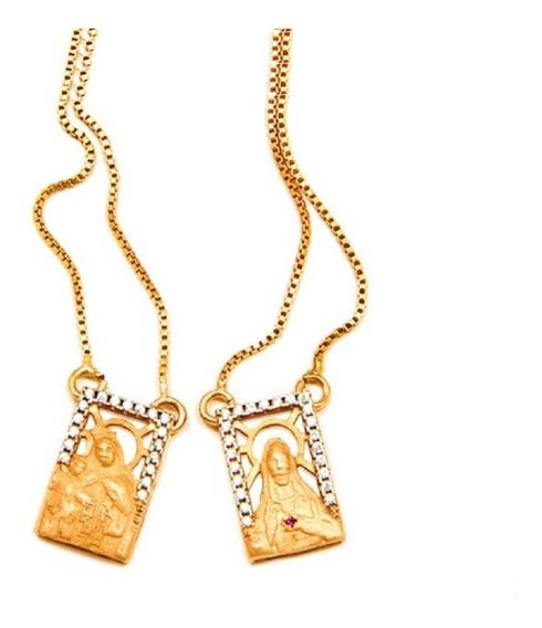 Colar Escapulário Nossa Senhora E Jesus Cristo Coração Rubi Banhado A Ouro 18k La Madame Co
