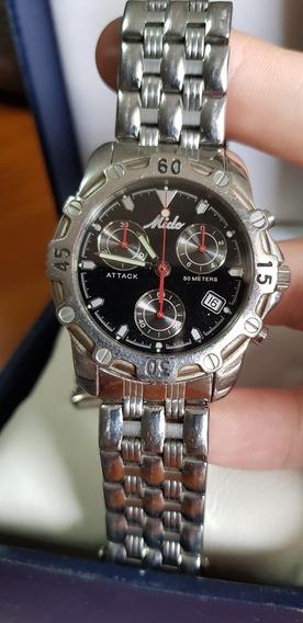 Relógio Mido Raro Aço Inox Quartz 200mts Caixa Swiss Suiço