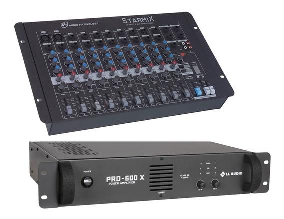 Kit Mesa Som 10 Canais Ll S1002d + Potencia Pro600x 150w