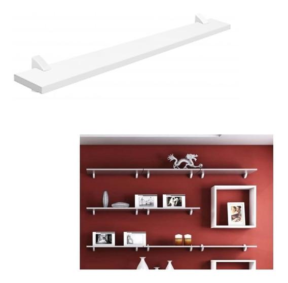 Prateleira Concept Parede Branco 80x10cm Porta Retratos Quadros Livros Brinquedos Madeira Mdp Pratk