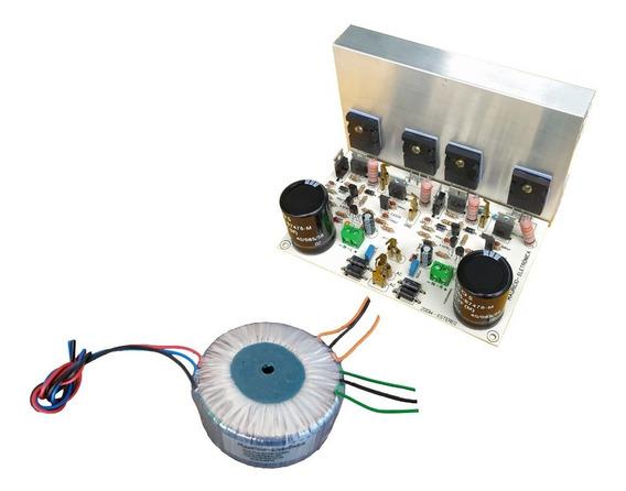 Placa Amplificador 200w Estereo C/ Fonte,dissipador E Trafo