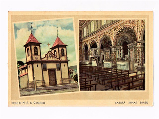 Cartao Postal Tipografico Igrejas Sabara Mg - Anos 50