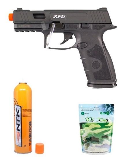 Pistola Airsoft Gbb Ics Black Leopard + Taikoon + Esferas