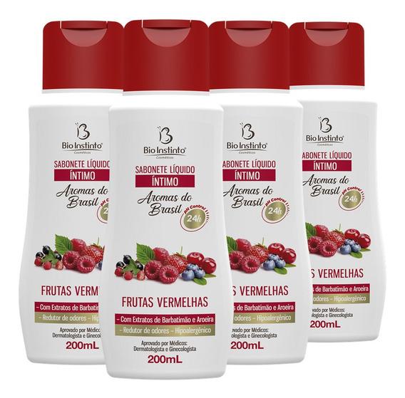 Sabonete Íntimo 4 X 200ml Frutas Vermelhas - Bio Instinto