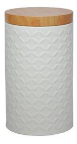 Pote De Metal Redondo Wood Lid Branco Tampa Bambu 10,8x18,6c