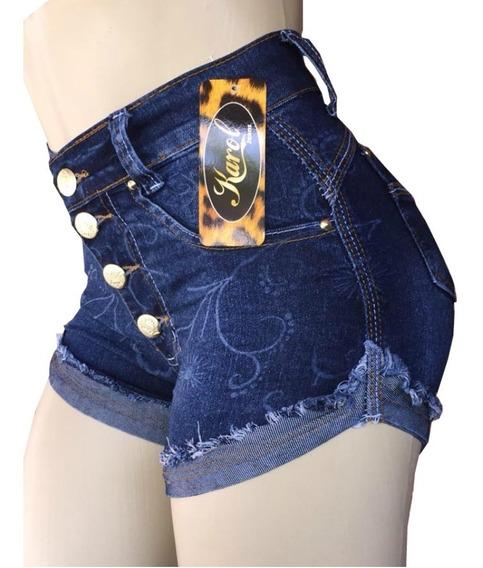 Short Jeans Feminino Modelagem Levanta Bumbum Cós Alto Hot Pants Com Lycra
