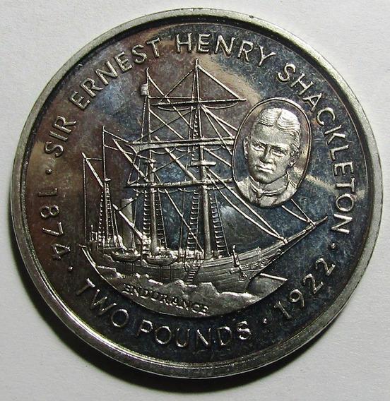 Islas Malvinas Moneda 1 Crown 1999 Unc Henry Shackleton
