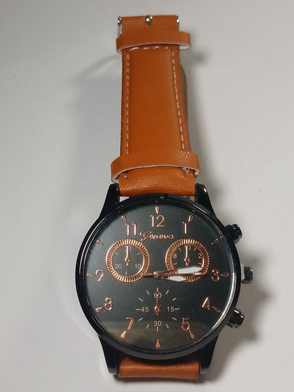 Relógio Masculino Geneva Preto Cobreado Pulseira Marrom