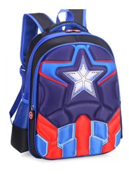 Bolsa Infantil Mochila Escolar Capitão América 3d Ultimato