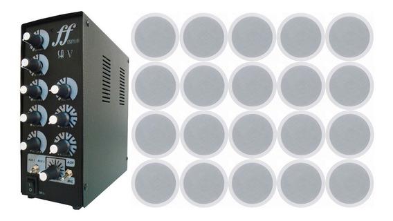 Kit 20 Caixa Som Arandela Embutir + Amplificador Setorizador