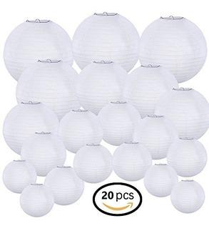 Supla 20 Pack Linterna De Papel Blanco Chino Lámparas De Pap